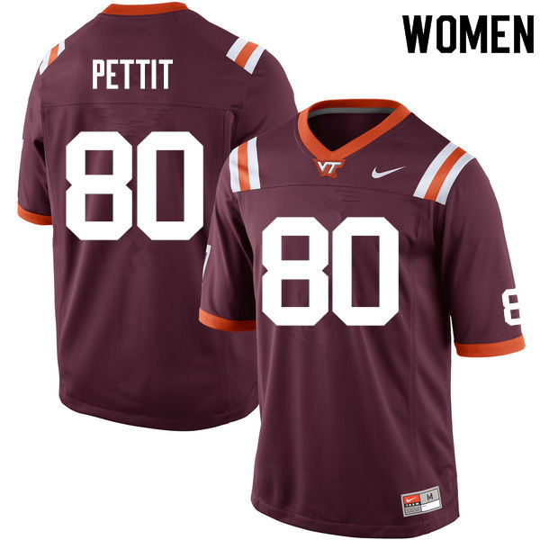 Women #80 Colt Pettit Virginia Tech Hokies College Football Jerseys Sale-Maroon