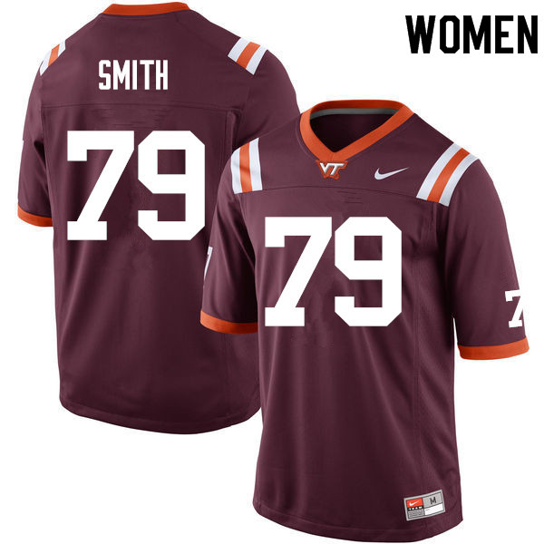 Women #79 Tyrell Smith Virginia Tech Hokies College Football Jerseys Sale-Maroon
