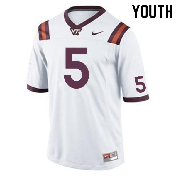 Youth #5 Bryce Watts Virginia Tech Hokies College Football Jerseys Sale-Maroon