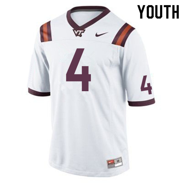 Youth #4 Dax Hollifield Virginia Tech Hokies College Football Jerseys Sale-Maroon