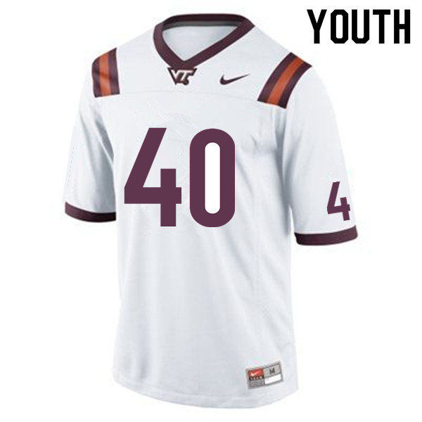 Youth #40 Ben Skinner Virginia Tech Hokies College Football Jerseys Sale-White