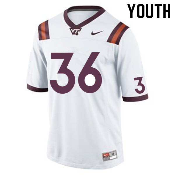 Youth #36 DaShawn Crawford Virginia Tech Hokies College Football Jerseys Sale-White
