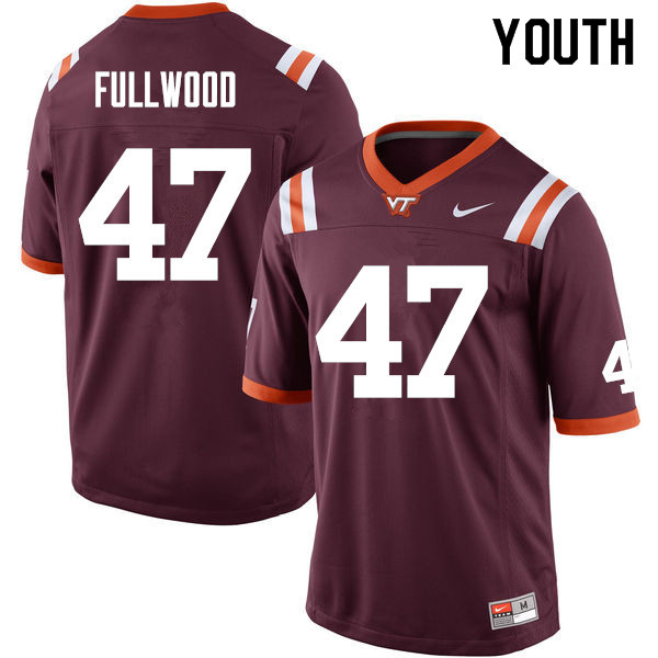 Youth #47 Darius Fullwood Virginia Tech Hokies College Football Jerseys Sale-Maroon