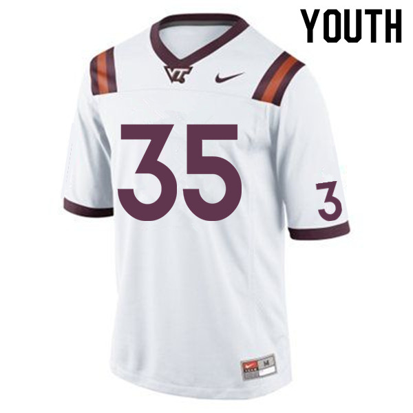 Youth #35 Keshawn King Virginia Tech Hokies College Football Jerseys Sale-White