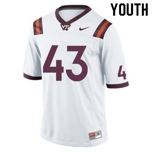 Youth #43 Michael Peterson Virginia Tech Hokies College Football Jerseys Sale-White