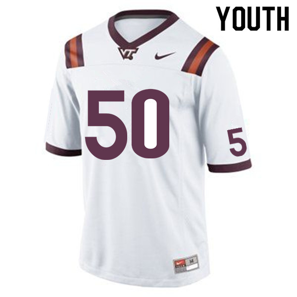 Youth #50 Tre Maxwell Virginia Tech Hokies College Football Jerseys Sale-White